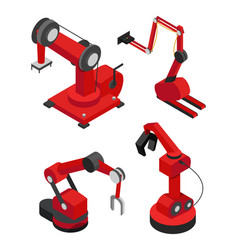 industrial robots set for efficient production vector image