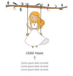 Invitation my first communion girl on a swing vector