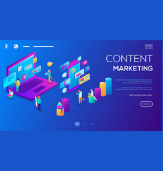 isometric 3d website app landing web page template vector image