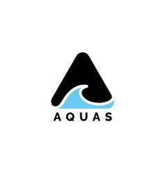 letter a for aqua water inspiration logo design vector image
