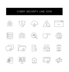 line icons set cyber security pack vector image