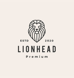 lion head line outline hipster vintage logo icon vector image