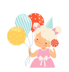 Little girl wearing birthday hat carrying candy vector