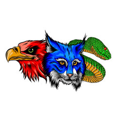 Lynx wildcat eagle snake logo mascot vector