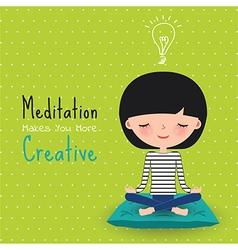 Meditation creative woman cartoon vector