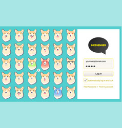 Messenger kakao talk login page and dog stickers vector