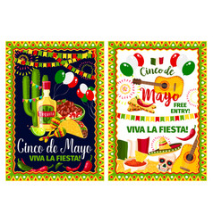 mexican holiday card of cinco de mayo fiesta party vector image