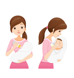 mother feeding baby with baby bottle vector image