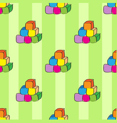 multicolored cubes on green background abstract vector image