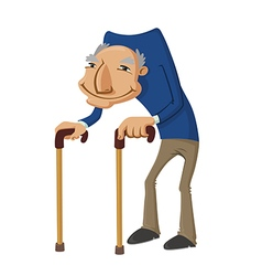 Old man with two walking sticks vector