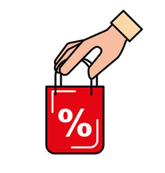 online shopping bag in hand discount vector image