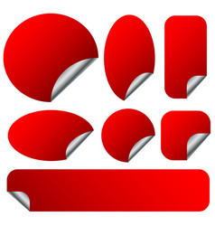 Peeling red stickers set with metallic back side vector