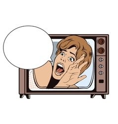 People in retro style Girl screaming in horror vector image