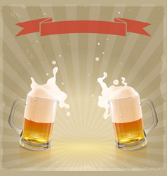 Pint beer with splashing foam vector
