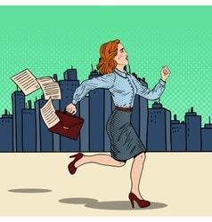 Pop Art Business Woman Running to Work vector