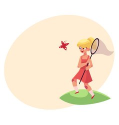 pretty little girl catching butterfly with net vector image