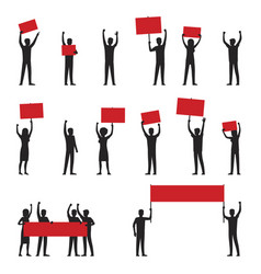 Protesters silhouettes with red streamers set vector