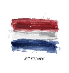 realistic watercolor painting flag of netherlands vector image