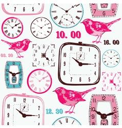 Retro birds Clocks Pattern vector image