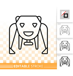 Robot bear simple black line icon vector