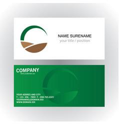 Round green ecology organic logo business card vector