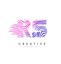 rs r s zebra lines letter logo design with vector image