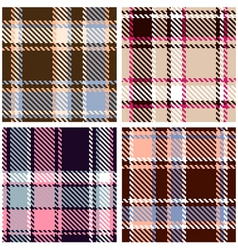 seamless checkered plaid pattern set vector image