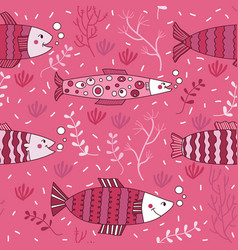 Seamless pattern fish pink underwater doodle vector