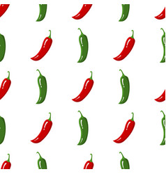 Seamless pattern with red and green chilli pepper vector