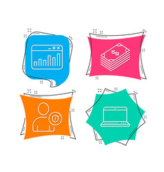 security marketing statistics and dollar icons vector image