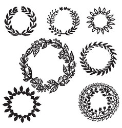 set hand drawn leaves wreath decorative elements vector image