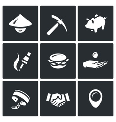 Set of Cheap Labor Icons Worker Tool vector image