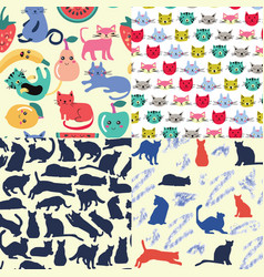 set seamless patterns with funny cartoon cats vector image