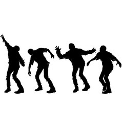 several zombie silhouettes vector image