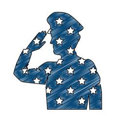 silhouette military saluting with usa flag vector image