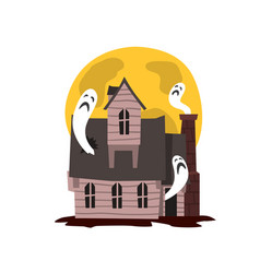 Spooky haunted castle scary halloween mansion vector
