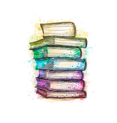 stack multi colored books from a splash of vector image