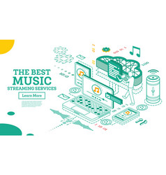 streaming music services isometric concept vector image