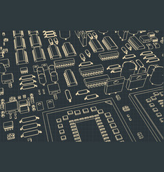 stylized mainboard vector image