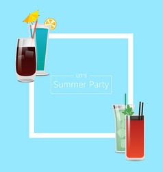 summer party banner with four pretty cocktails vector image