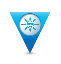Sun symbol map pointer blue vector