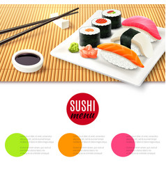 Sushi And Bamboo Mat vector image