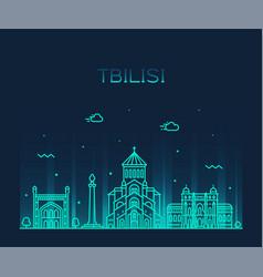 tbilisi skyline georgia linear style city vector image