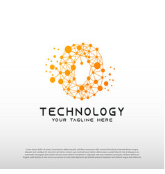 Technology logo with initial o letter network vector