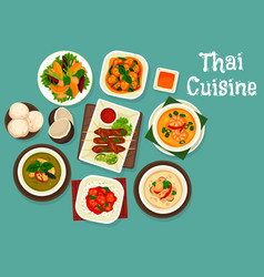 Thai seafood soup grilled meat coconut dessert vector