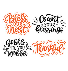 Thanksgiving hand drawn lettering set vector
