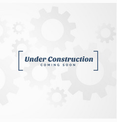Under construction text with gears vector