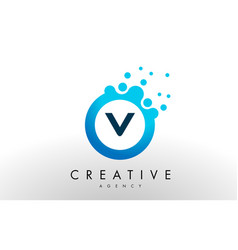 V letter logo blue dots bubble design vector