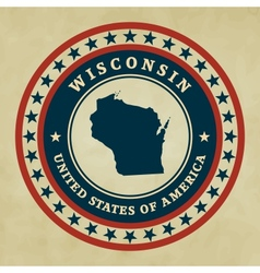 Vintage label Wisconsin vector