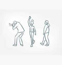 walk people isolated doodle simple set isolated vector image
